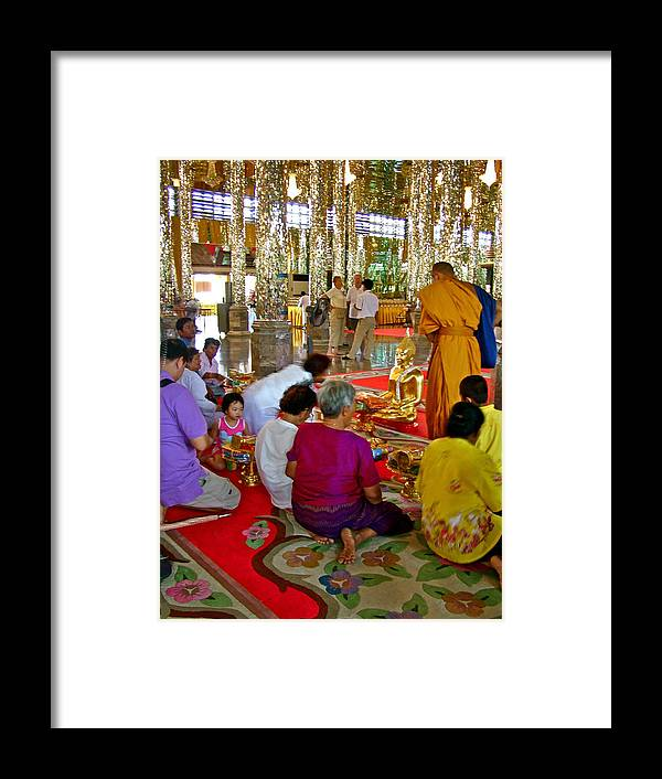 Families Awaiting Teaching From A Monk At Wat Tha Sung Temple In Uthaithani Framed Print featuring the photograph Families Awaiting Teaching From A Monk At Wat Tha Sung Temple In Uthaithani-thailand by Ruth Hager