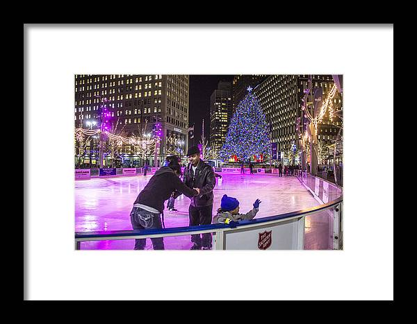 Detroit Framed Print featuring the photograph Family At Detroit Ice Rink  by John McGraw