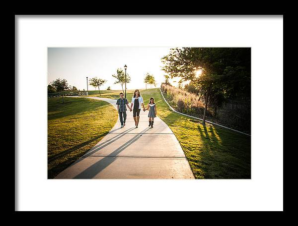 Family Walking Forward Sunset Hill Holding Hands Framed Print featuring the photograph Family Forward Walking by Connie Cooper-Edwards