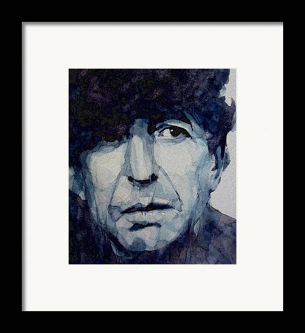Leonard Cohen Framed Print featuring the painting Famous Blue Raincoat by Paul Lovering