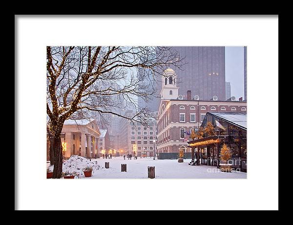 Architecture Framed Print featuring the photograph Faneuil Hall In Snow by Susan Cole Kelly