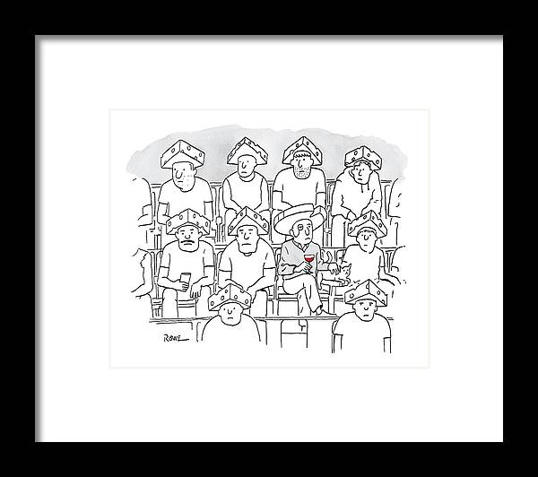 Captionless Framed Print featuring the drawing Fans At A Football Game Sit In The Stands Wearing by Julian Rowe