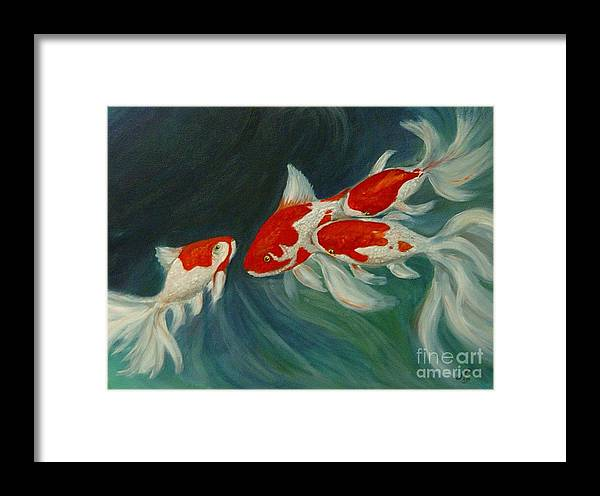 Koi Framed Print featuring the painting Fantail Koi by Nancy Bradley