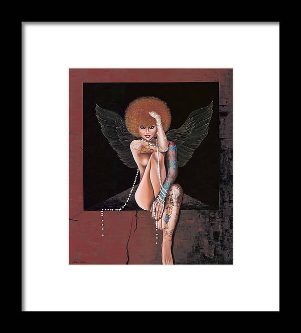 Modern Nude Woman Painting Framed Print featuring the painting Fantasy Angel by Roula Bechara