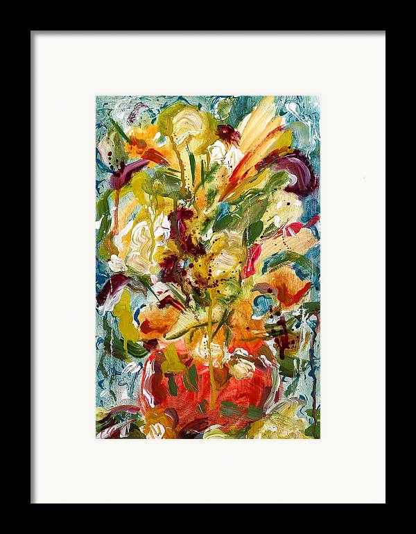 Abstract Vase Flower Print Framed Print featuring the painting Fantasy Floral 1 by Carole Goldman