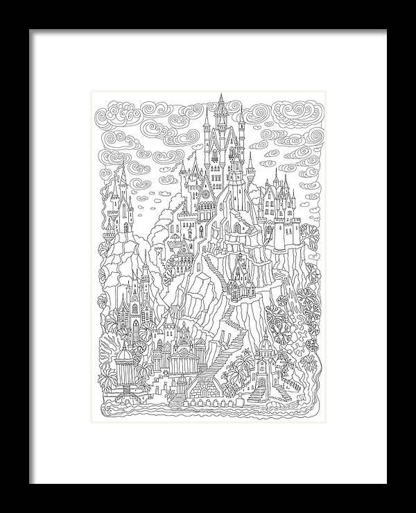 Tee-shirt Framed Print featuring the digital art Fantasy Landscape. Fairy Tale Castle On by L. Kramer