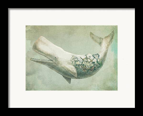 Whale Framed Print featuring the drawing Far And Wide by Eric Fan