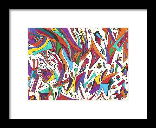 Abstract Framed Print featuring the drawing Far Out by Laura Briganti