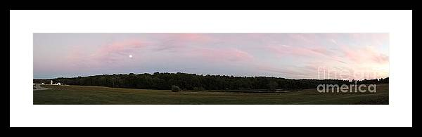 Panorama Framed Print featuring the photograph farm at sunset WIDE by GJ Glorijean