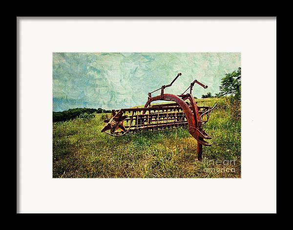 Farm Framed Print featuring the digital art Farm Equipment In A Field by Amy Cicconi