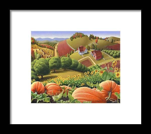Pumpkin Framed Print featuring the painting Farm Landscape - Autumn Rural Country Pumpkins Folk Art - Appalachian Americana - Fall Pumpkin Patch by Walt Curlee