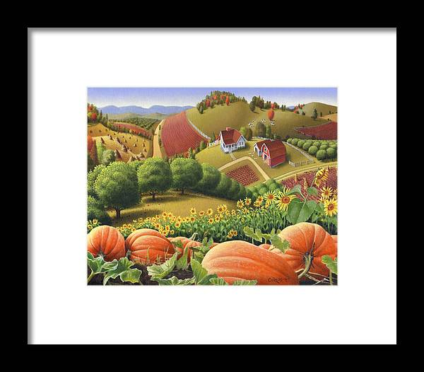 Pumpkin Framed Print featuring the painting Farm Landscape - Autumn Rural Country Pumpkins Folk Art - Appalachian Americana - Fall Pumpkin Patch by Walt Curlee