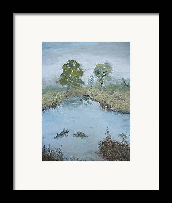 Pond Framed Print featuring the painting Farm Pond by Dwayne Gresham