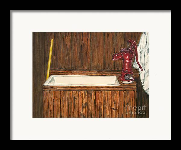 Farm Sink Framed Print featuring the painting Farm Sink by Regan J Smith