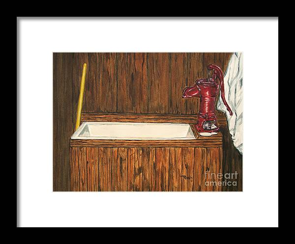 Farm Sink Framed Print featuring the painting Farm Sink by Regan J Smith