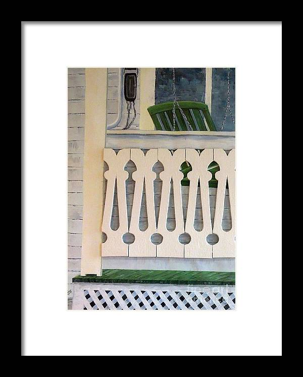 Farmhouse Framed Print featuring the painting Farmhouse Porch Left Side by Judith Espinoza