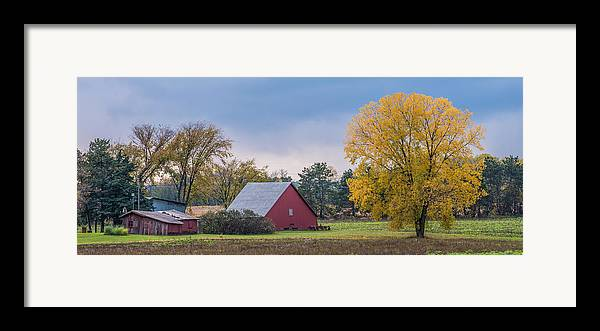 Landscape Framed Print featuring the photograph Farmstead With Fall Colors by Paul Freidlund