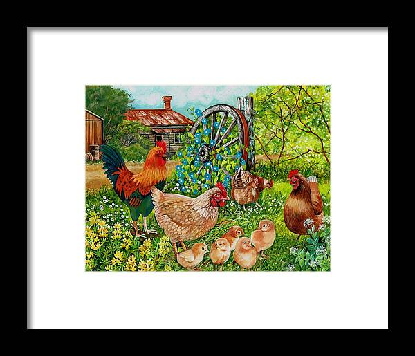Rooster Framed Print featuring the painting Farmyard Family by Val Stokes