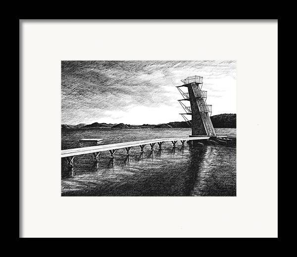 Diving Board Framed Print featuring the drawing Farsund Badehuset In Ink by Janet King
