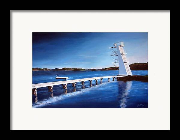 Diving Board Framed Print featuring the painting Farsund Badehuset On A Sunny Day by Janet King