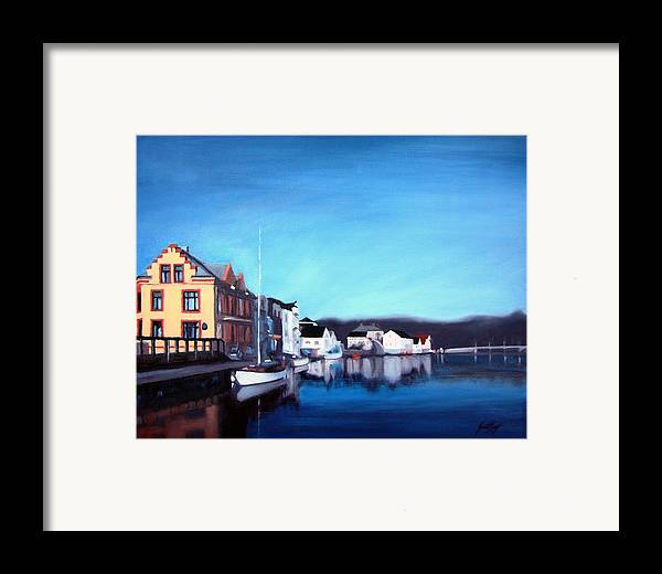 Dock Framed Print featuring the painting Farsund Dock Scene I by Janet King