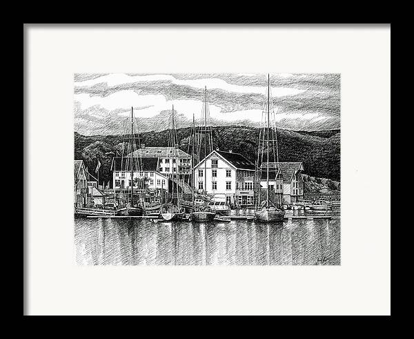 Dock Framed Print featuring the drawing Farsund Dock Scene Pen And Ink by Janet King