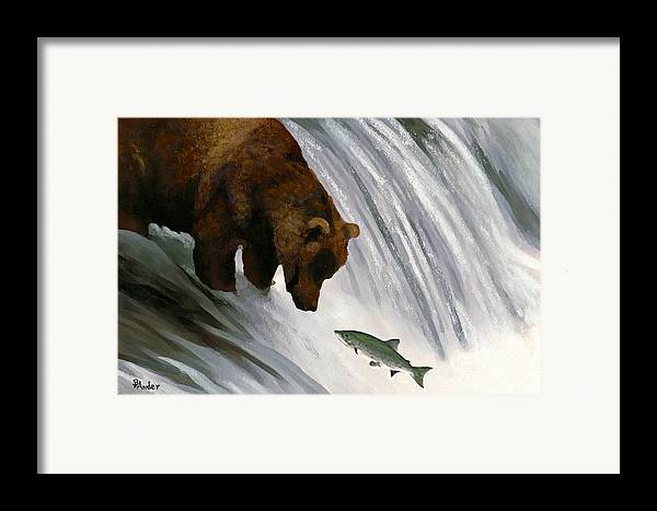 Grizzly Bear Framed Print featuring the drawing Fast Food Delivery by Brent Ander