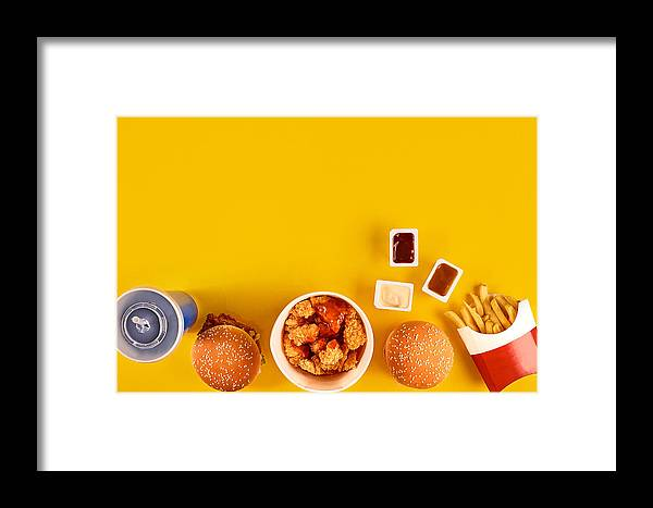 Financial Figures Framed Print Featuring The Photograph Fast Food Dish Top View Meat Burger