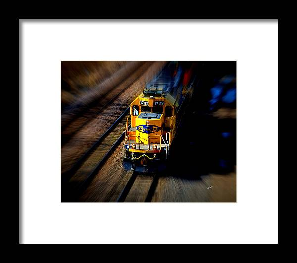 Train Framed Print featuring the photograph Fast Moving Train by Karen Kersey
