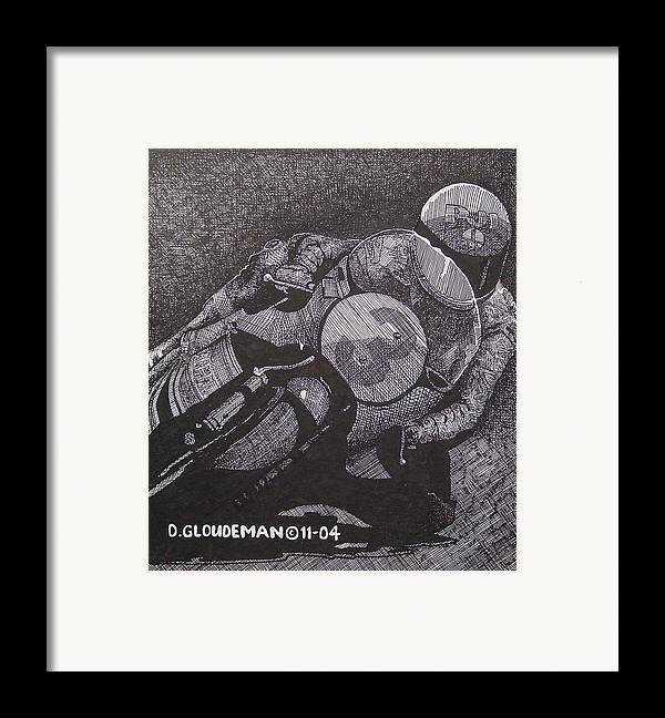 Sports Framed Print featuring the drawing Faster by Denis Gloudeman