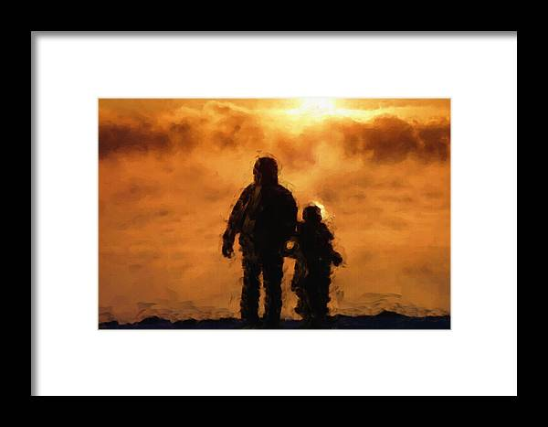 Father Framed Print featuring the painting Father And Son by Inspirowl Design