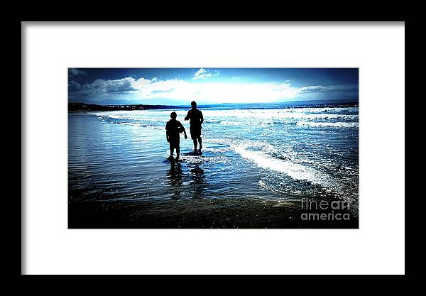 Ocean Framed Print featuring the photograph Father And Son by Willinda Swart