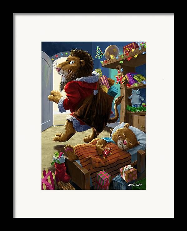 Christmas Framed Print featuring the digital art Father Christmas Lion Delivering Presents by Martin Davey