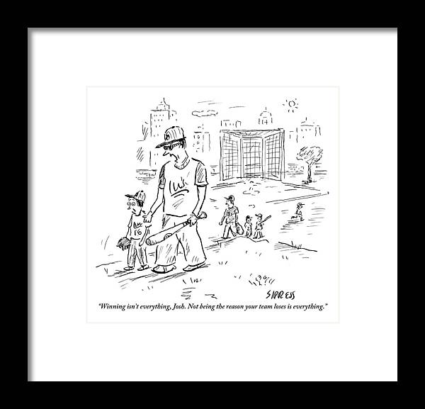 Win Framed Print featuring the drawing Father Speaks To Son As They Walk Hand In Hand by David Sipress