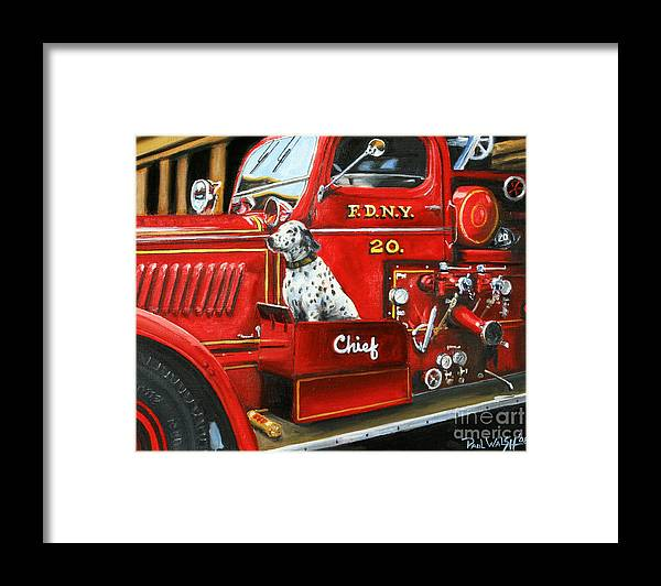 Dalmatian Framed Print featuring the painting Fdny Chief by Paul Walsh