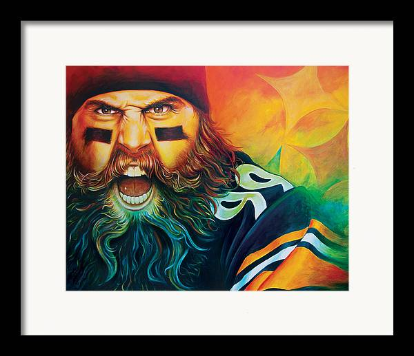 Pittsburgh Steelers Brett Keisel Framed Print featuring the painting Fear Da Beard by Scott Spillman