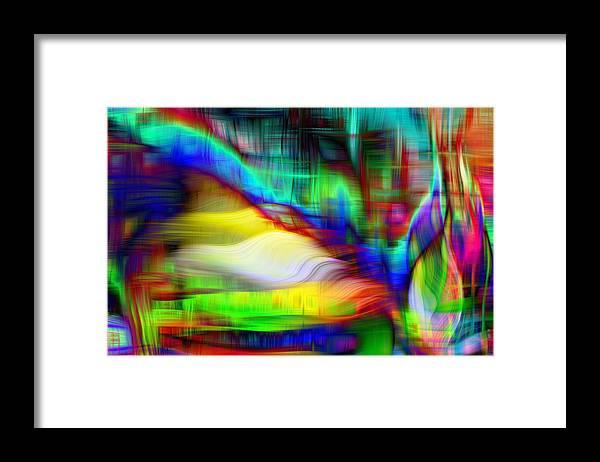 Feathered Ribbon Delight Framed Print featuring the digital art Feathered Ribbon Delight 1 by Devalyn Marshall