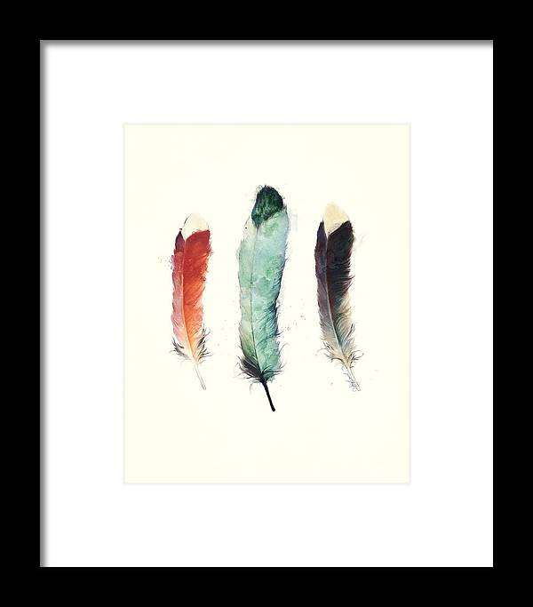 Feathers Framed Print featuring the painting Feathers by Amy Hamilton