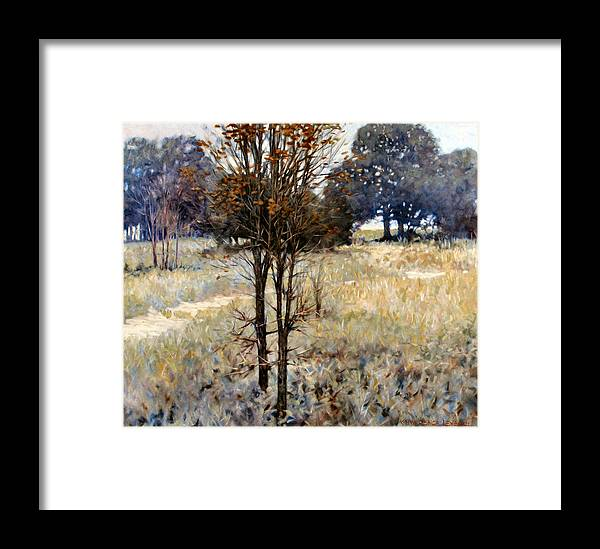 Landscape Framed Print featuring the painting Feathery Field by Kevin Lawrence Leveque
