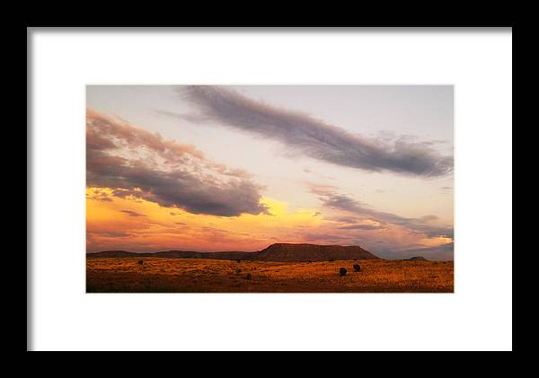 Sunset Framed Print featuring the photograph Feathery Sunset Clouds by Valerie Loop