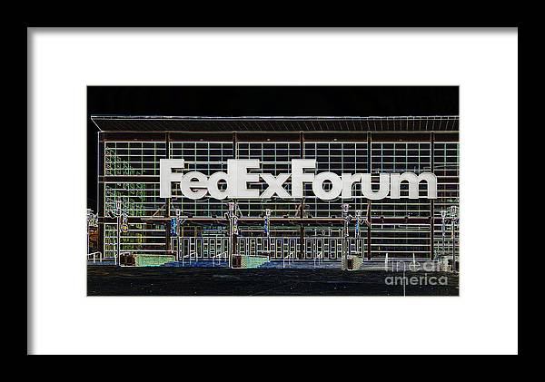 Fedexforum Framed Print featuring the digital art Fedexforum Memphis Tn by Liz Leyden