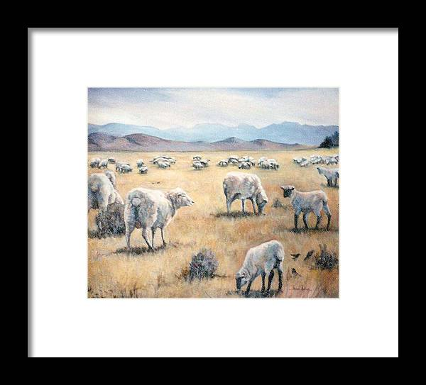 Nature Framed Print featuring the painting Feed My Sheep by Donna Tucker
