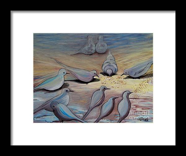 Birds Framed Print featuring the painting Feed The Birds by Caroline Street