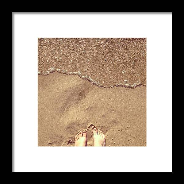 Feet Framed Print featuring the photograph Feet on the Beach by Christy Beckwith