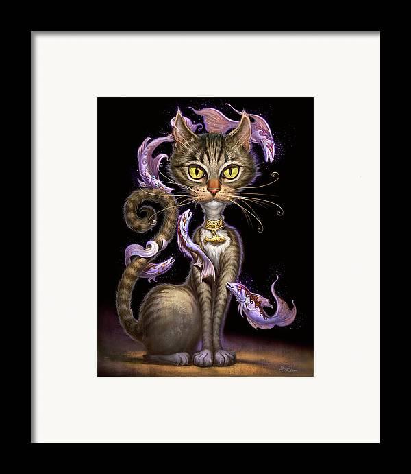 Jeff Haynie Framed Print featuring the painting Feline Fantasy by Jeff Haynie