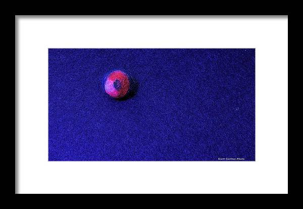 Felting Framed Print featuring the photograph Felt Ball On Blue Felt by Scott Carlton
