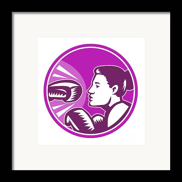 Boxer Framed Print featuring the digital art Female Boxer Punch Retro by Aloysius Patrimonio