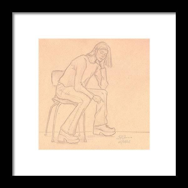 Figure Framed Print featuring the drawing Female Figure I by Jeffrey Oleniacz