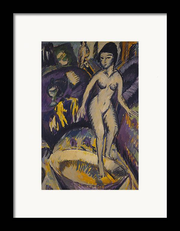 Kirchner Framed Print featuring the painting Female Nude With Hot Tub by Ernst Ludwig Kirchner