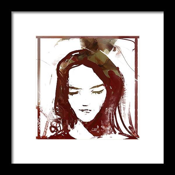 Digital Framed Print featuring the digital art Female Textured Sketch Number 1 by George Sneyd